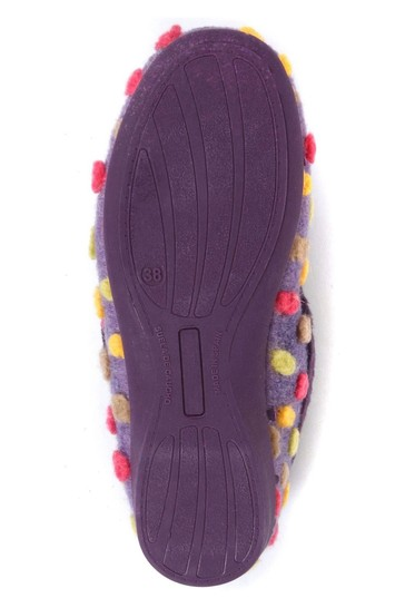 Pavers Purple Multi Ladies Full Woolly Slippers
