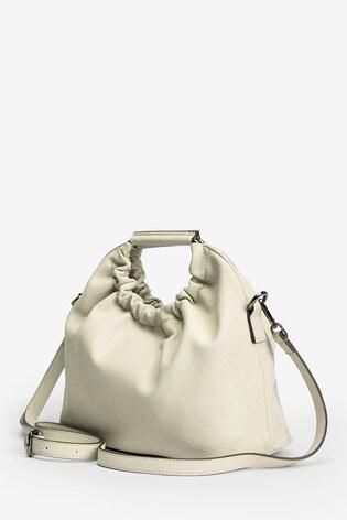 Bone Gathered Handle Tote Bag