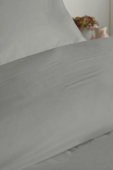 Serene Grey Plain Duvet Cover and Pillowcase Set