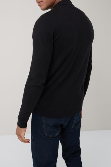 Black Knitted Poloshirt