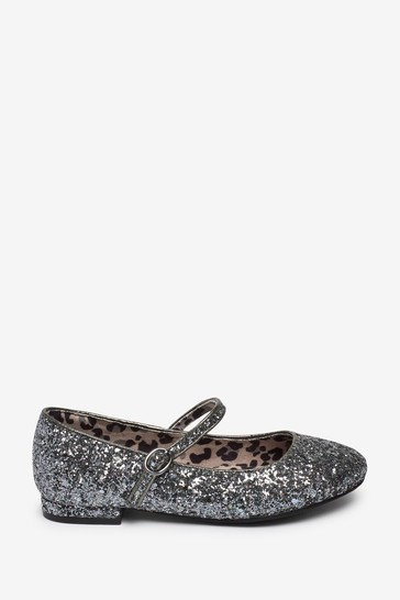 Silver Glitter Occasion Mary Jane Shoes