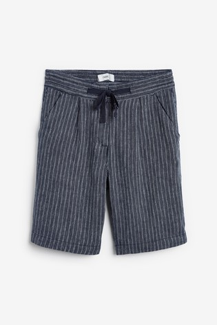 Navy Stripe Linen Blend Knee Shorts
