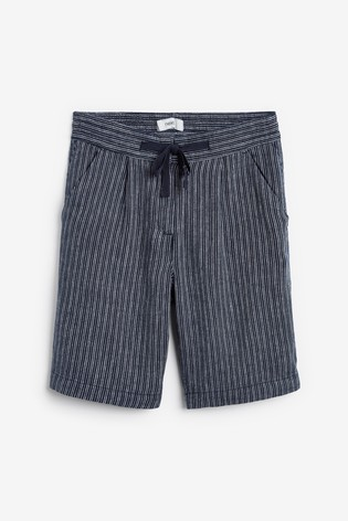 Navy Stripe Linen Blend Knee Shorts