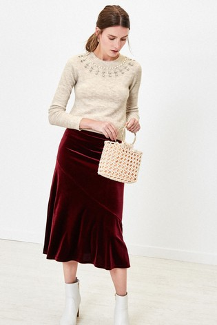 Oasis Natural Embellished Neck Jumper