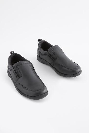 Black Standard Fit Leather Loafers (Older)