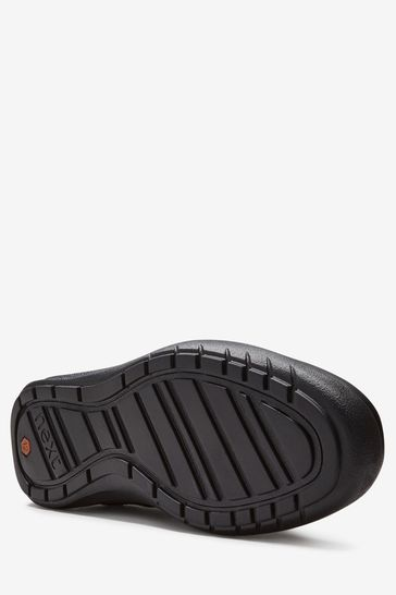 Black Standard Fit (F) Leather Loafers