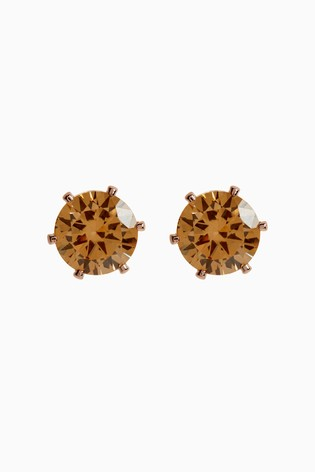 Rose Gold Cubic Zirconia Large Stud Earrings