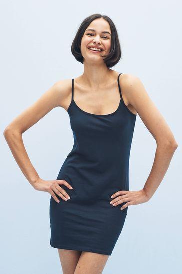 Navy Longline Thin Strap Vest