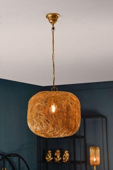 Libra Tova Gold Woven Wire Wide Pendant