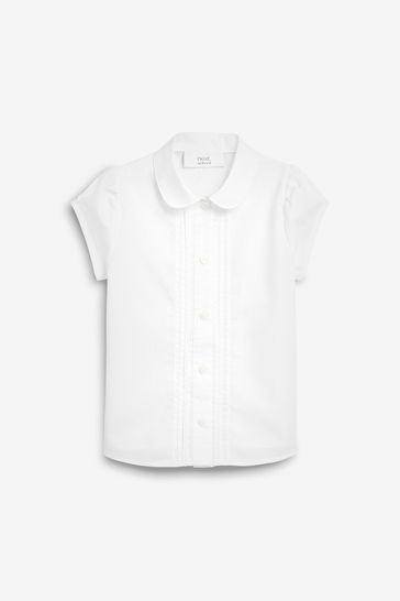 White Puff Sleeve Lace Trim Blouse (3-14yrs)