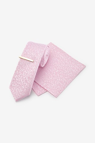 Pink Floral Silk Tie, Pocket Square Set And Tie Clip Set