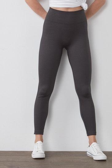 Charcoal Full Length Ribbed Leggings