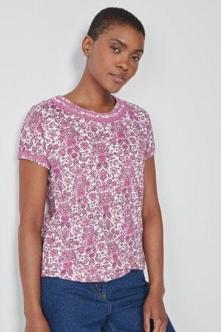 Pink Paisley Bubble Hem T-Shirt