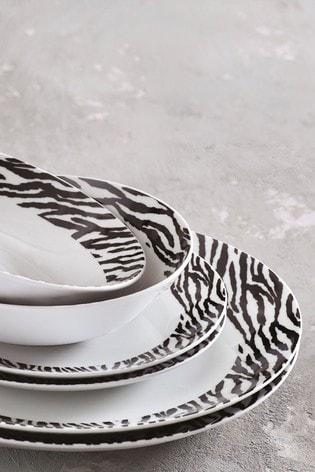 12 Piece Zebra Dinner Set