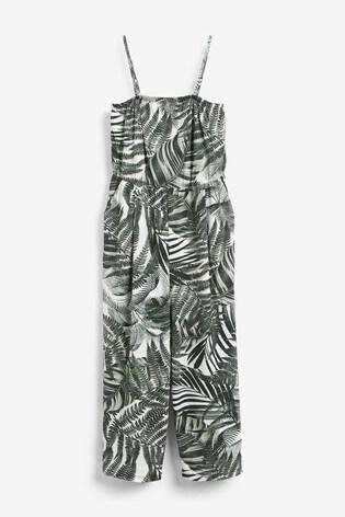 Palm Print Crinkle Bandeau Jumpsuit