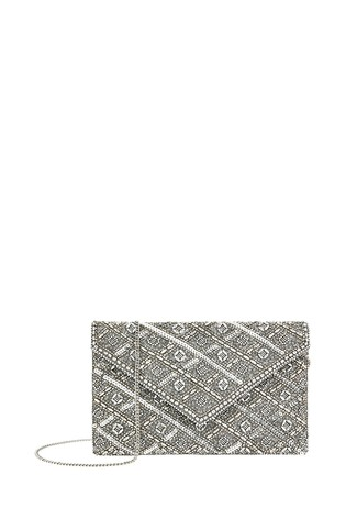 Accessorize Silver Tabitha Embellished Clutch Bag
