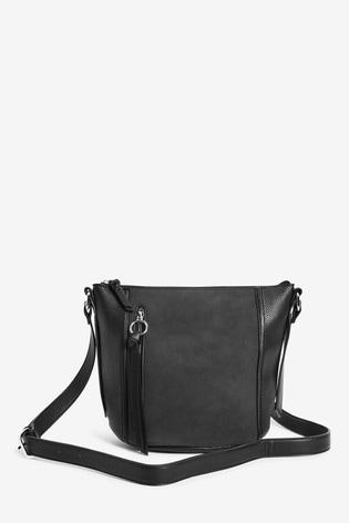 Black Zip Detail Across-Body Bag