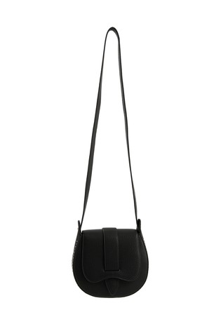 Oliver Bonas Black Nova Studded Saddle Cross-Body Bag