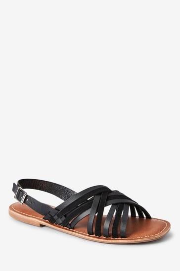 Black Forever Comfort® Woven Slingback Sandals