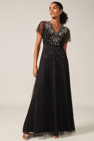 Phase Eight Black Pascale Jewelled Tulle Dress