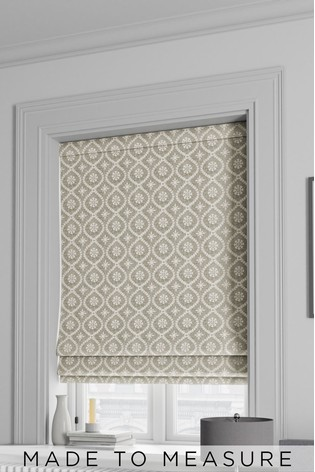 Luxe Embroidered Ogee Linen Natural Made To Measure Roman Blind