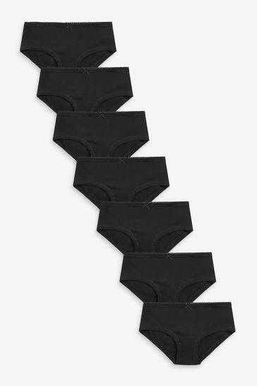 Black Hipster Briefs Seven Pack (2-16yrs)