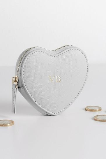Grey Personalised Grey Heart Purse