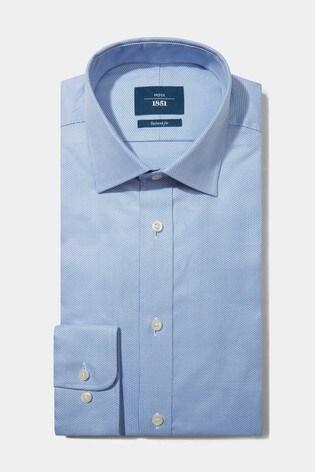 Moss 1851 Tailored Sky Single Egyptian Cotton Textured Shirt