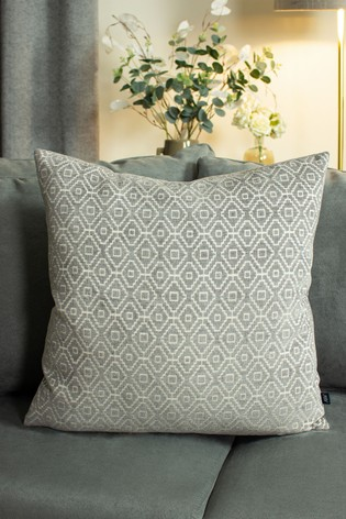 Kenza Chenille Geo Cushion by Ashley Wilde