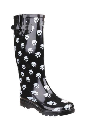 Cotswold Black Dog Paw Wellington Boots