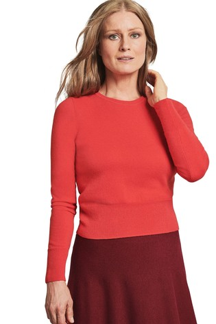 Pure Collection Red Cashmere Cropped Sweater