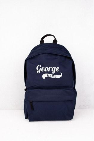 Personalised Navy Established Backpack by Loveabode