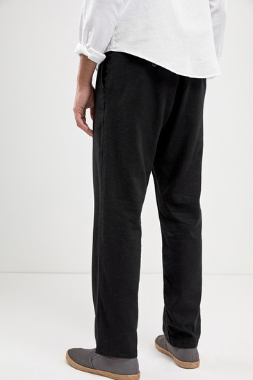 Black Linen Blend Drawstring Trousers