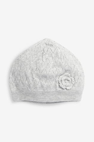 Grey Floral Crochet Hat (0mths-2yrs)
