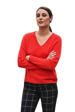 Pure Collection Red Cashmere Lofty V-Neck Sweatshirt