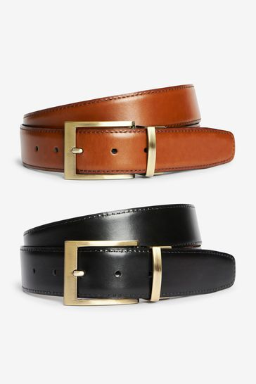 Tan/Black Signature Italian Leather Reversible Belt