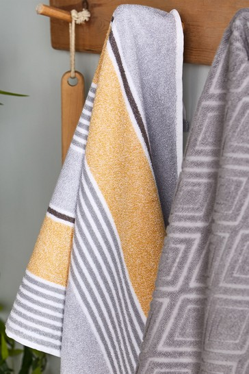 Set of 2 Textured Stripe Hand Towels by Catherine Lansfield