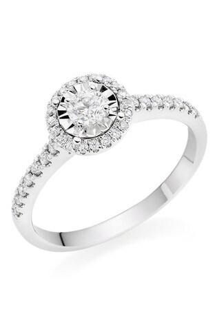 Beaverbrooks 9ct White Gold Diamond Halo Ring