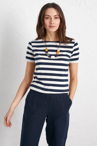 Seasalt Navy/White Stripe Sailor T-Shirt