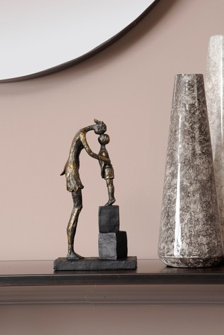Libra Antique Bronze Mother And Child On Blocks Sculpture