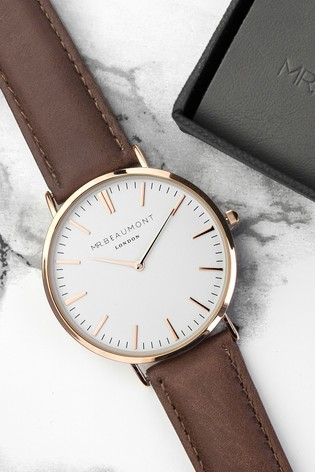 Personalised Men's Modern Vintage Brown Leather Watch by Treat Republic