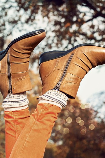 Pavers Tan Ladies Dual Zip Leather Ankle Boots