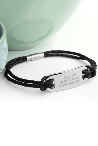Personalised Men's Black Leather Bracelet by Treat Republic