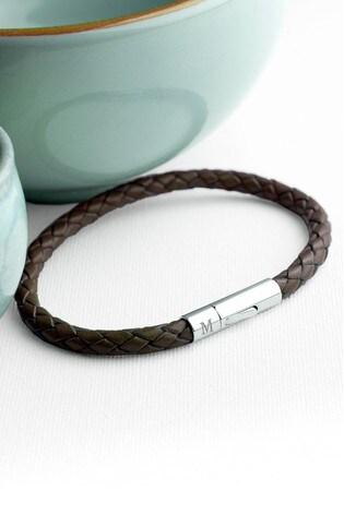 Personalised Men's Tan Leather Bracelet by Treat Republic
