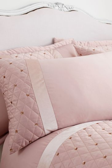 Catherine Lansfield Pink Sequin Cluster Duvet Cover And Pillowcase Set