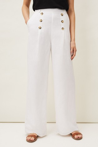Phase Eight White Beatrix Linen Blend Trousers