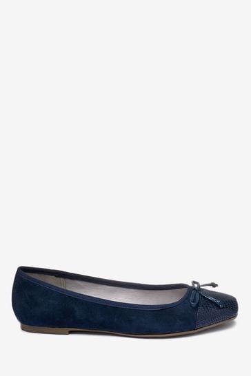 Navy Toe Cap Forever Comfort® Ballerina Shoes