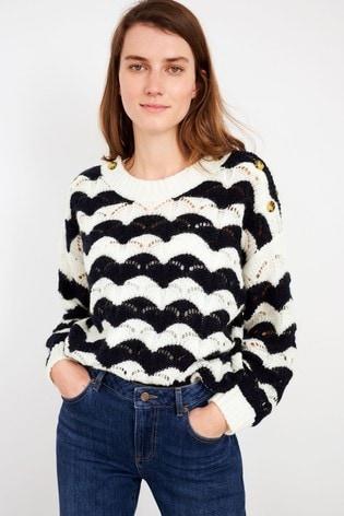White Stuff White/Black Surfs Up Sweater