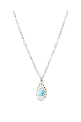 Oliver Bonas Caspari Oval Engraved & Stone Detail Drop Necklace