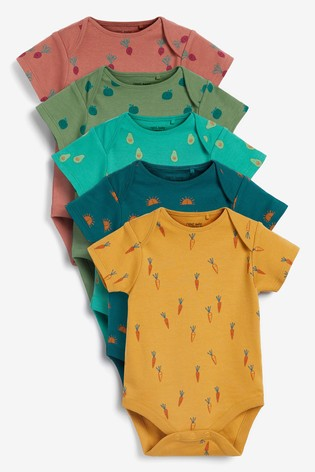 Vegetable Print 5 Pack Short Sleeve Bodysuits (0mths-3yrs)